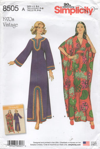 Reproduction of 1970's Simplicity Caftans in Two Styles - Bust 32.5-42