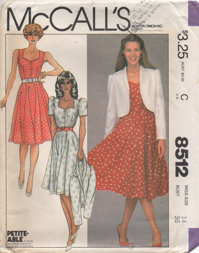 1980's McCall's One Piece Shirtwaist Dress with Sweetheart Neckline and Bolero Pattern - Bust 36