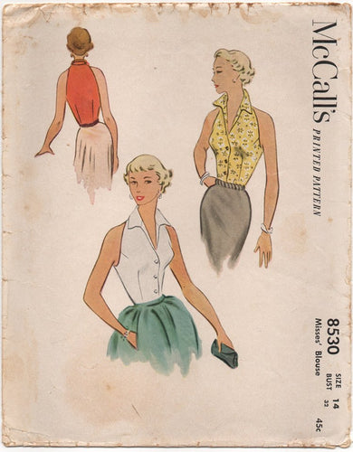 1950's McCall's Sleeveless Fitted Blouse with Tall Collar - Bust 32