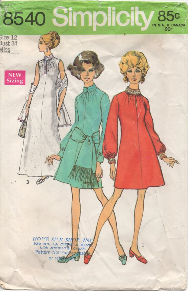 1960's Simplicity Maxi or Mini Dress with Slit up to High Collar - Bust 34