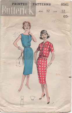 1950's Butterick One Piece Bloused Sheath Dress and Jacket - Bust 32