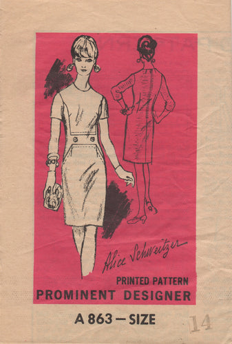1960's Mail Order Prominent Designer One Piece Dress with Accent Waist section - Bust 34