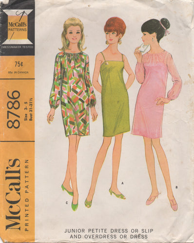 1960's McCall's Shift Dress with Gathered neckline or Thin Straps - Bust 31-31.5