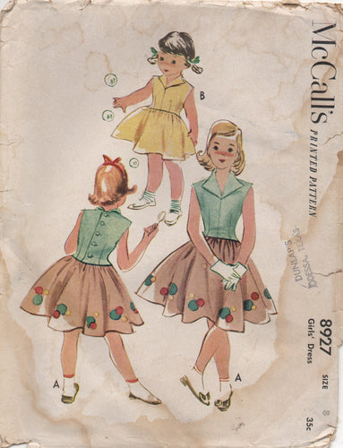 1950's McCall's One Piece Dress with Self Collar and Bubble applique - Size 8 - No. 8927