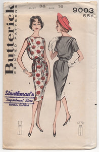 "1960's Butterick Sheath Dress with Cowl Neck Pattern - Bust 36"" - No. 9003"