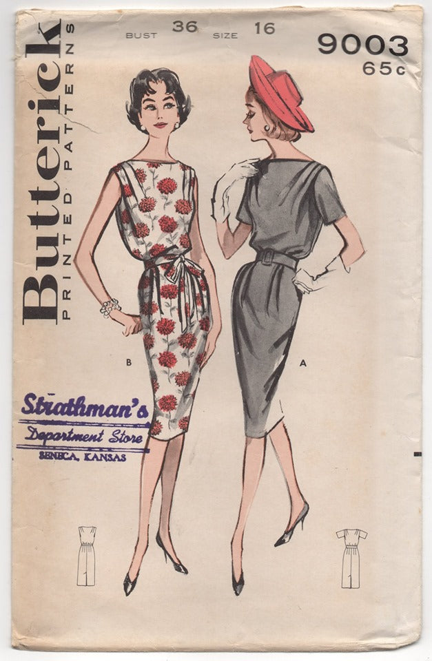 1960's Butterick Sheath Dress with Cowl Neck Pattern - Bust 36