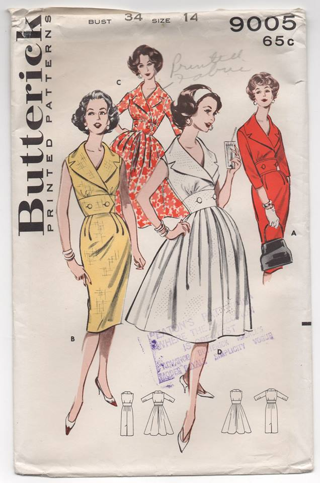 1950's Butterick One Piece Dress with Buttoned Waist, Collar & Two Skirts - Bust 34