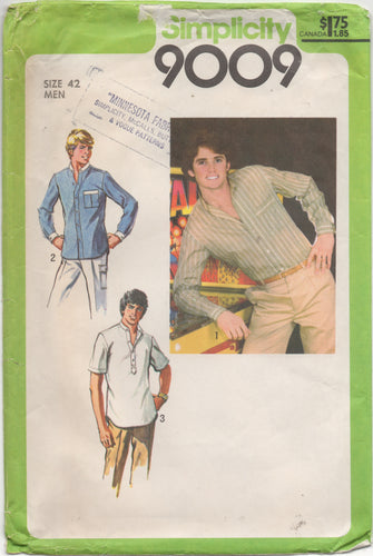 1970's Simplicity Men's Button Up or Pullover Shirt - Chest 42