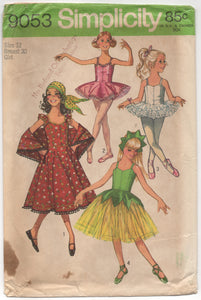 "1970's Simplicity Ballet Costume, Hat and Dress with Shawl - Breast 30"" - No. 9053"