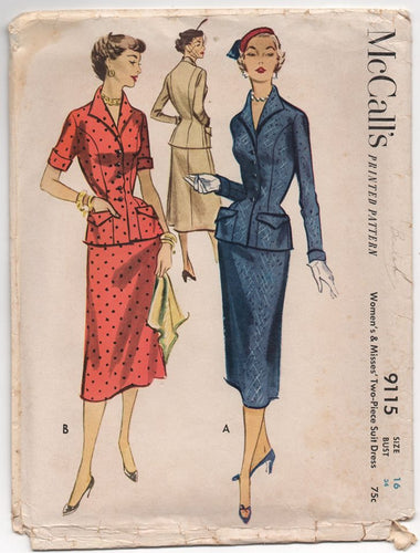 1950's McCall's Two Piece Suit Dress with Nipped Waist and Pockets - Bust 34
