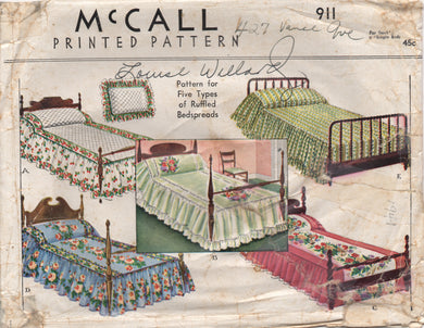 1940's McCall Ruffled Bedspreads for Single or Double Beds - No. 911