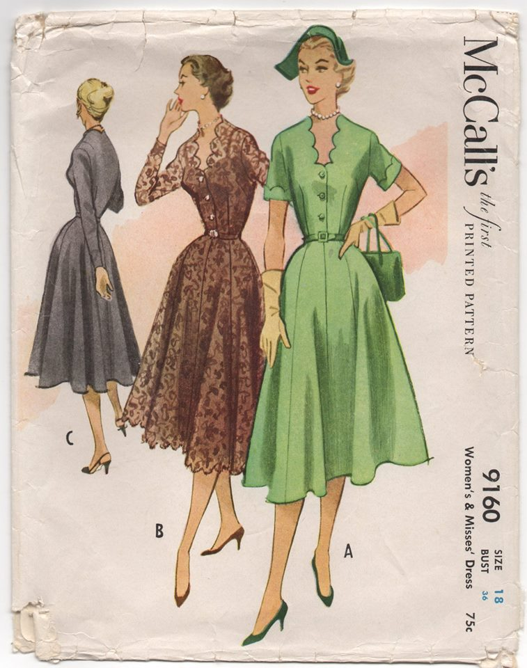 1950's McCall's One Piece Dress with Camisole or Full Top and Scallops - Bust 36
