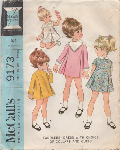 1960's McCall's Toddler Dress with Choice of Collar and Cuffs - Size 6 mo - No. 9173