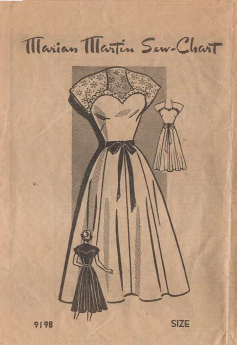 1950's Marian Martin One Piece Sweetheart Neckline Dress Pattern - Bust 30