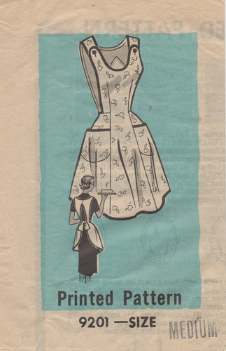 1950's Mail Order Full Apron with Button detail and Pockets - Bust 34-36