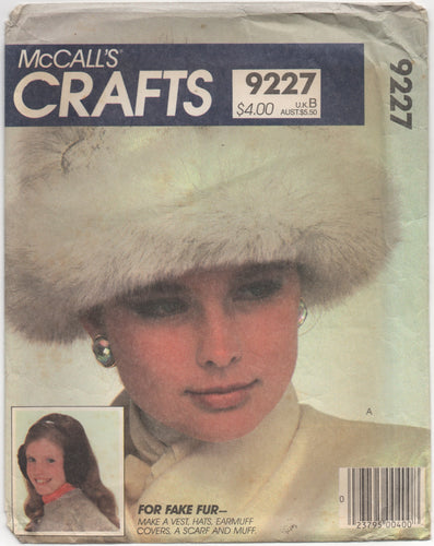 1980's McCall's Vest, Hats, Earmuff covers, Scarf and Muff pattern - One size - No. 9227