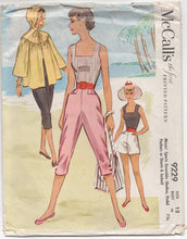 "1950's McCall's Summer Top, Pedal Pushers, Shorts and Jacket with Hood - Bust 30"" - No. 9229"