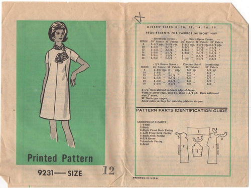 1970's Anne Adams One Piece Dress with Tab and Scarf Pattern - Bust 34