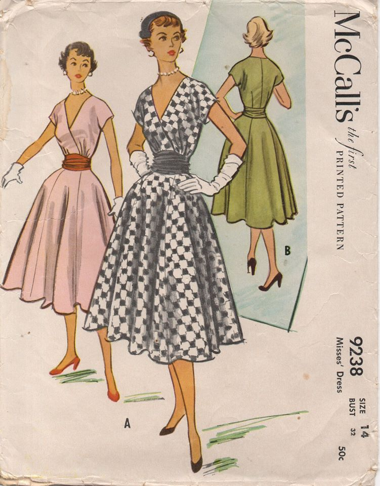 1950's McCall's One Piece Surplice Front Dress with Cummerbund and Panel Skirt - Bust 32