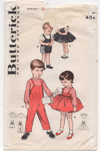 1950's Butterick Toddler's Overall's, Shirt or Blouse and Jumper - Breast 20