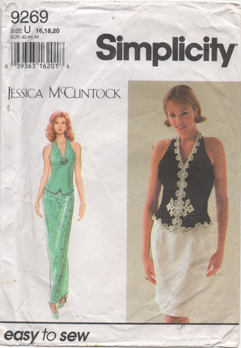 1990's Simplicity with Jessica McClintock Halter Two Piece Dress - Bust 38-40-42