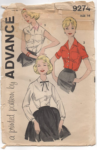 1960's Advance Button Up Blouse in 3 Sleeve lengths - Bust 34