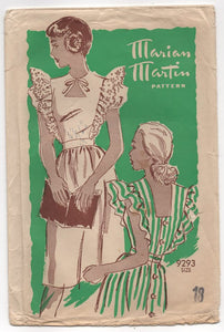 "1940's Marian Martin Pinafore with Cut out and Poof Sleeves - Bust 36"" - No. 9293"
