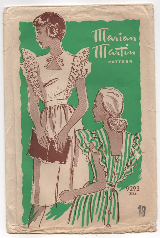 1940's Marian Martin Pinafore with Cut out and Poof Sleeves - Bust 36
