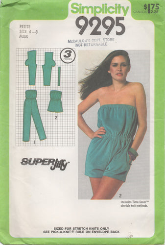 1970's Simplicity Romper in Two Lengths - Bust 30.5-31.5