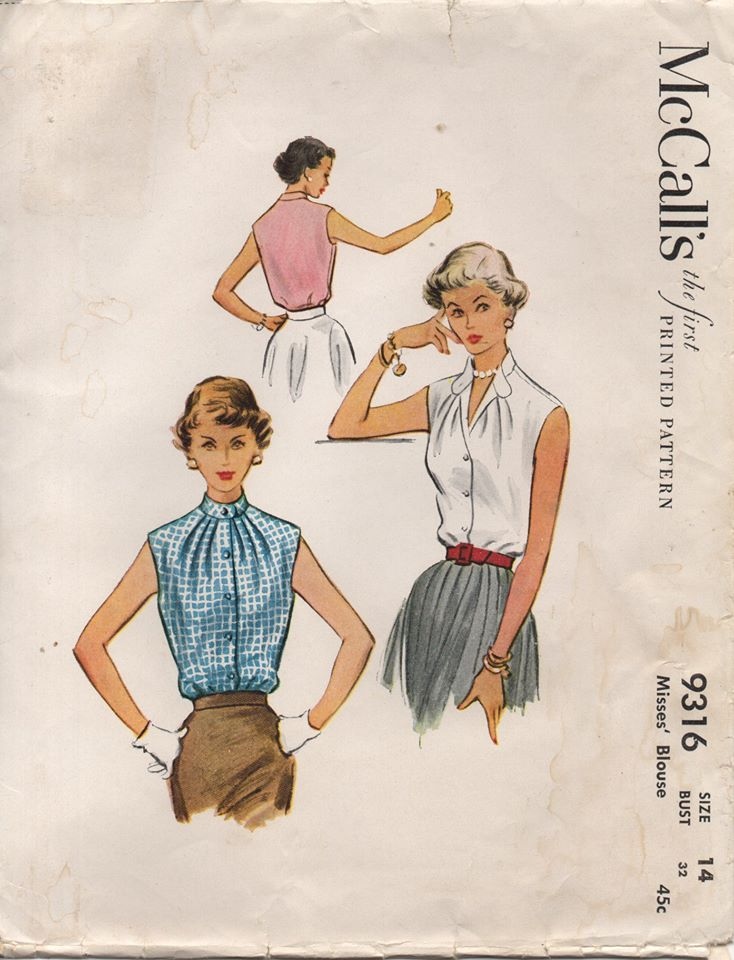 1950's McCall's Sleeveless Blouse with Mandarin Collar - Bust 32