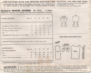 "1950's McCall's Sleeveless Blouse with Mandarin Collar - Bust 32"" - No. 9316"