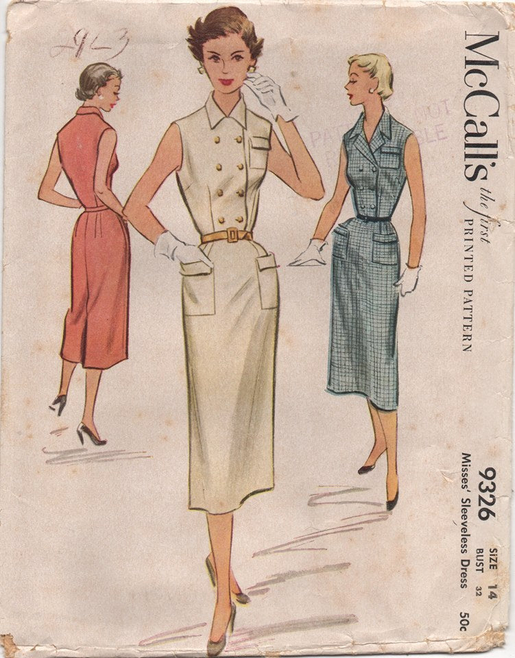 1950's McCall's Double Breasted Shirtwaist Dress with Three Pockets - Bust 32