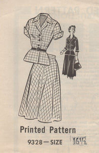 "1950's Mail Order Two Piece Dress with Peplum with two sleeve lengths - Bust 37"" - No. 9328"
