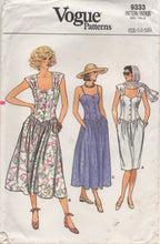"1980's Vogue Sweetheart Neckline Dress Pattern with Button up front, Drop Waist and Two Skirts  - Bust 34-36-38"" - No. 9333"