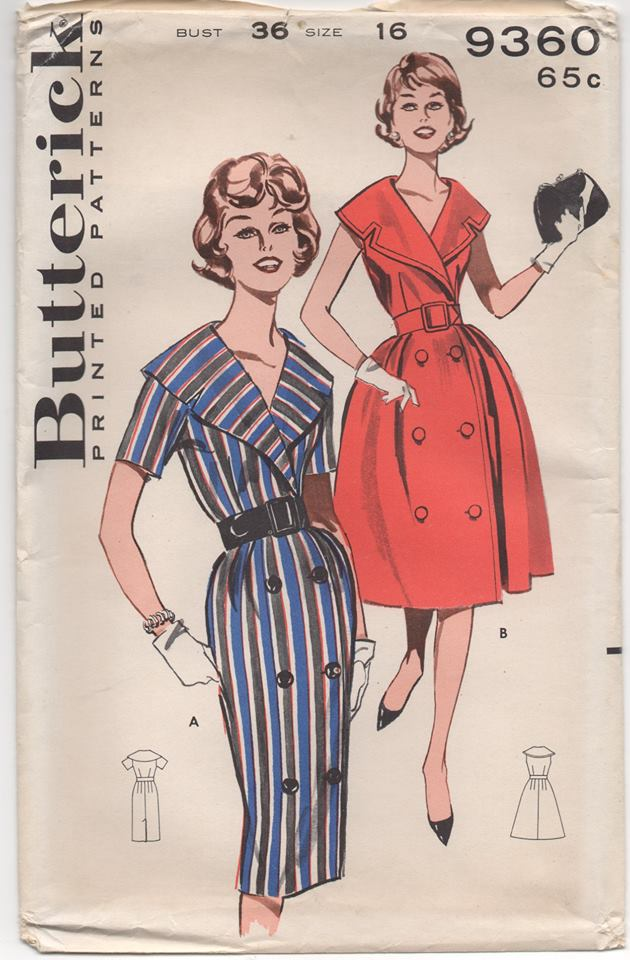 1960's Butterick One Piece Dress with Large Sailor Style Collar and Double Breasted - Bust 36