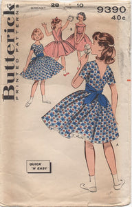 "1960's Butterick Child's One Piece Dress with Deep V Back and optional Collar - Chest 28"" - No. 9390"