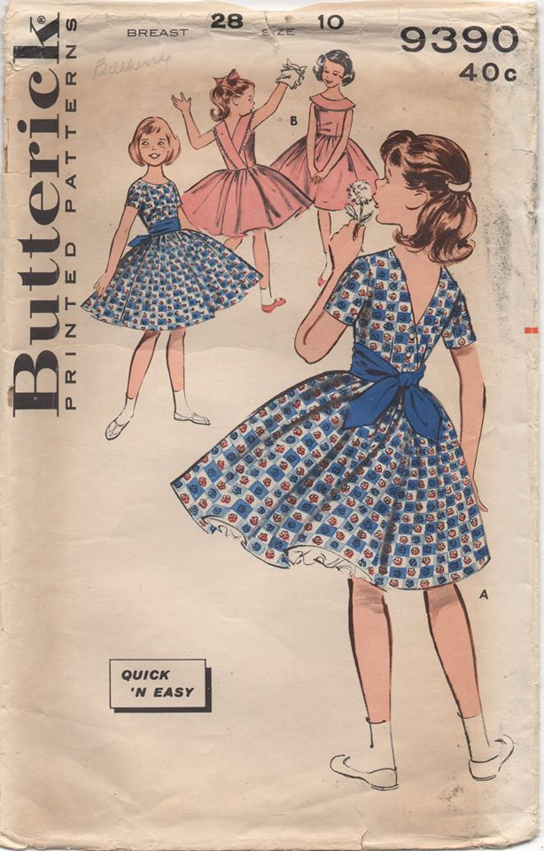 1960's Butterick Child's One Piece Dress with Deep V Back and optional Collar - Chest 28