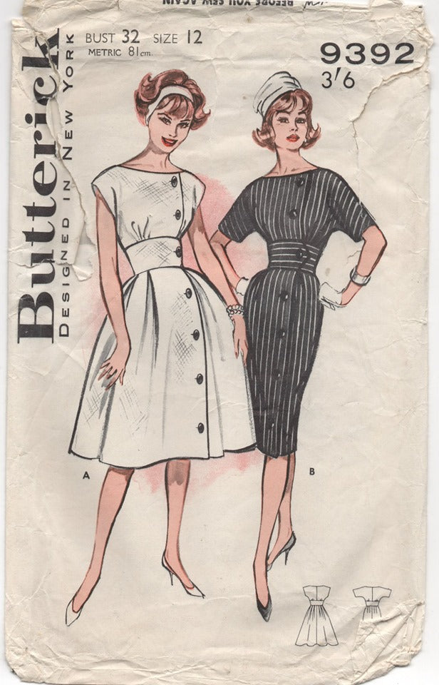 1960's Butterick One Piece Dress with Fitted Waist and Two Sleeve lengths Pattern - Bust 32