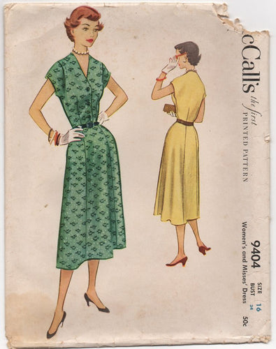 1950's McCall's Shirtwaist Dress with Moulded shouders - Bust 34