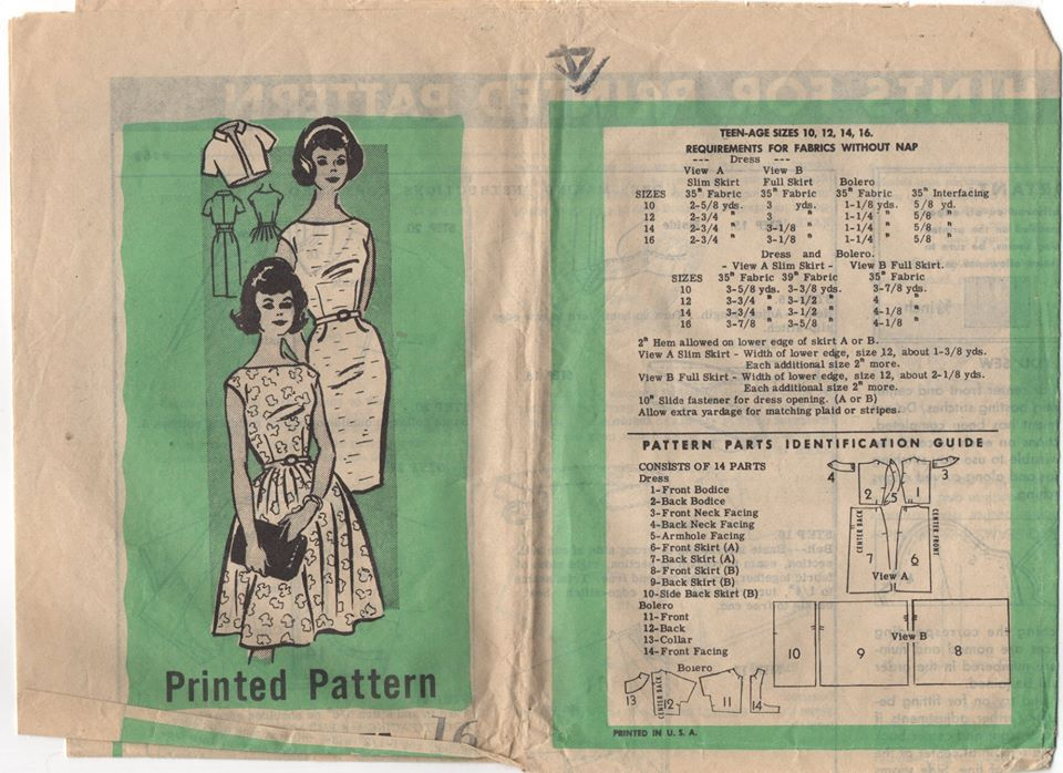 1960's Mail Order One Piece Fit and Flare or Wiggle Dress with Bateau Neckline - Bust 36
