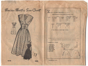 "1950's Marian Martin One PIece Dress with Fitted button-up waist Pattern - Bust 31"" - No. 9478"