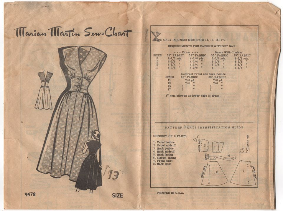 1950's Marian Martin One PIece Dress with Fitted button-up waist Pattern - Bust 31