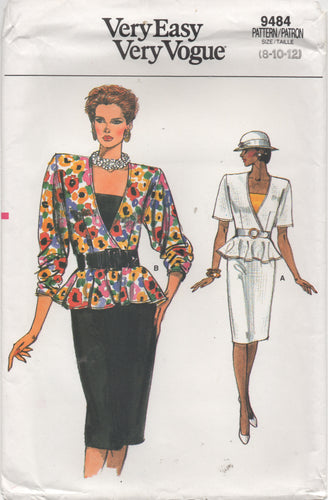 1980's Vogue Peplum Top with deep V, Camisole, and Pencil Skirt - Bust 31.5-32.5-34