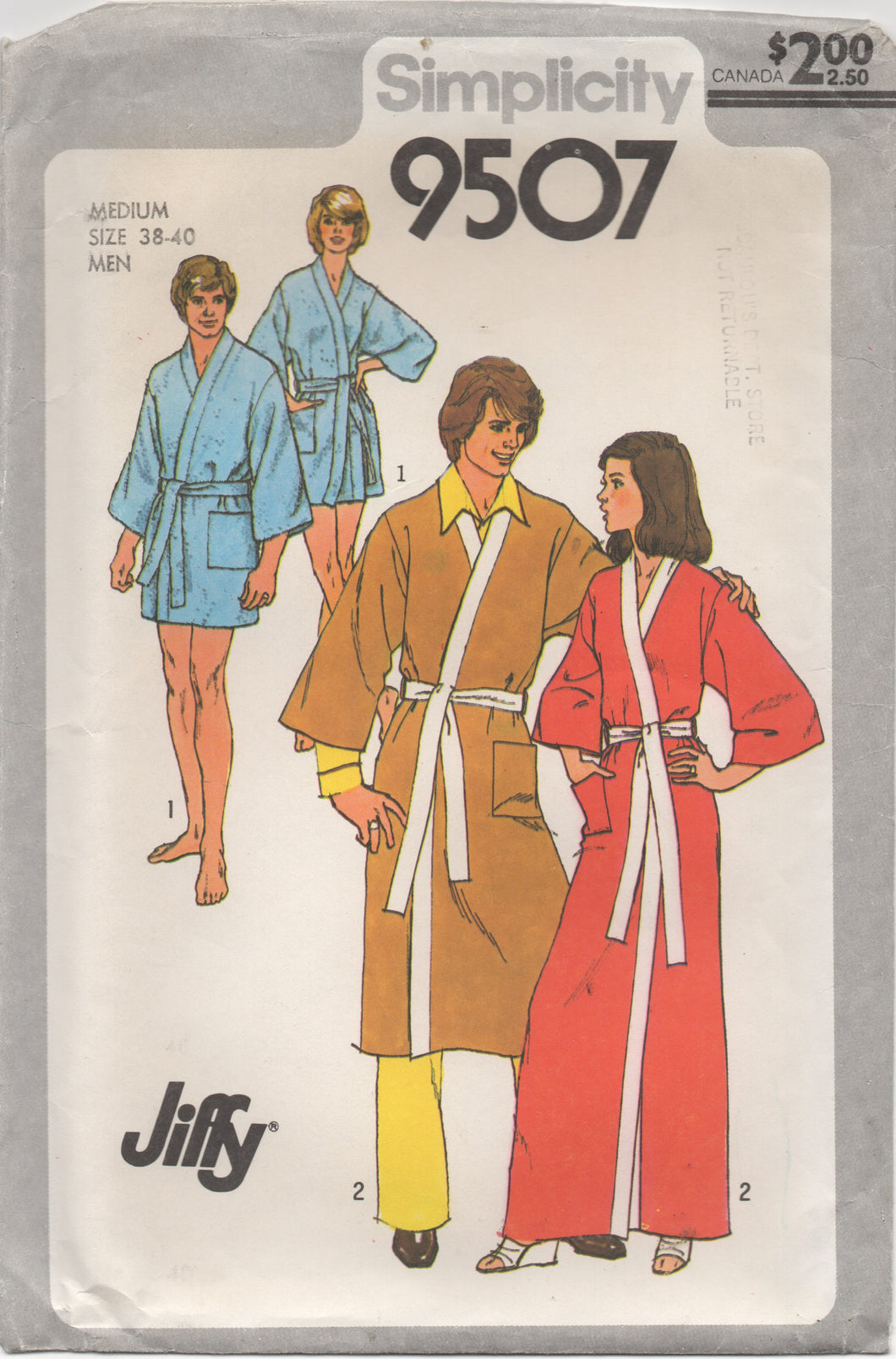 1970's Simplicity Men's Robe Pattern in Two Lengths - Chest 38-40 - No. 9507