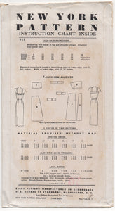 "1950's New York Slip or Sheath Dress Pattern - Bust 31"" - No. 955"