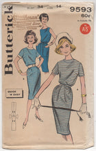 "1960's Butterick Sheath Slim Dress with Pockets Pattern - Bust 34"" - No. 9593"