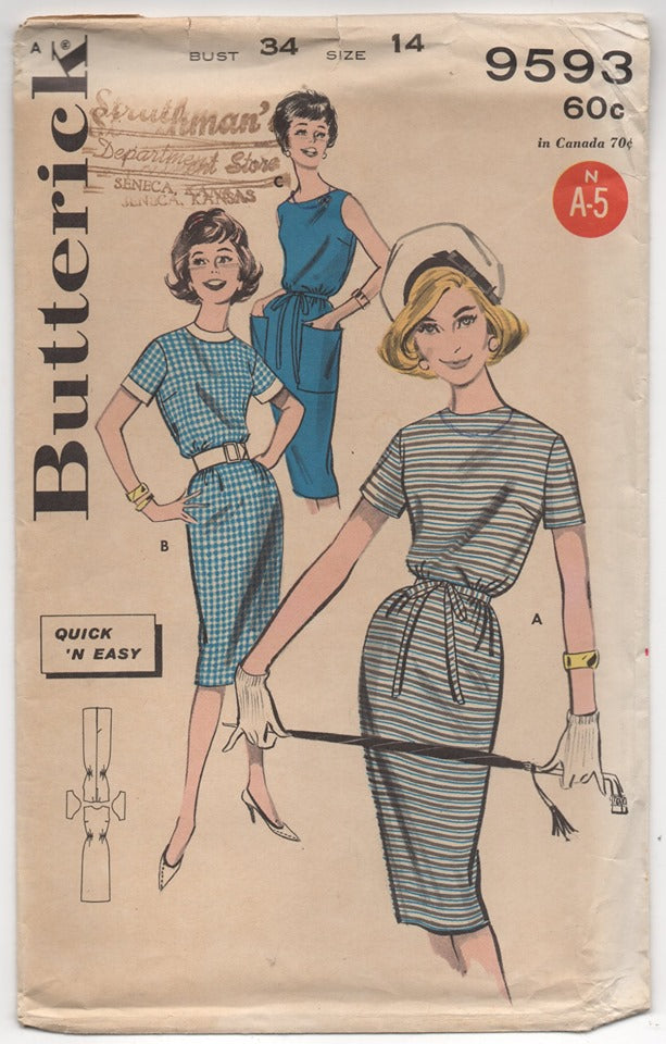 1960's Butterick Sheath Slim Dress with Pockets Pattern - Bust 34