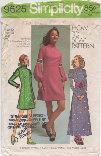 1970's Simplicity Maxi or Midi Dress with Three Sleeve Styles - Bust 34