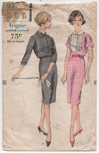 "1950's Vogue One Piece Slim fit Dress with Pin Tuck Front - Bust 32"" - No. 9716"