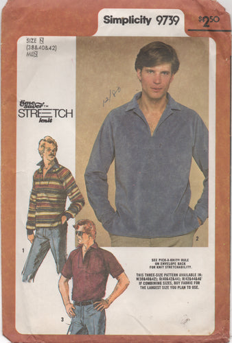 1980's Simplicity Men's Pullover Shirt Pop Up Collar - Chest 38